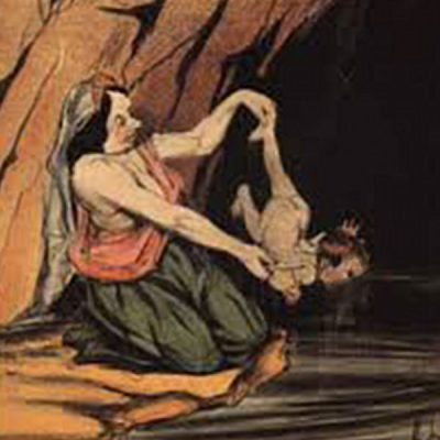 Painting of infant Achilles being dipped in the river