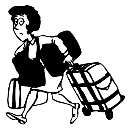 Cartoon of Lady with her bags packed.
