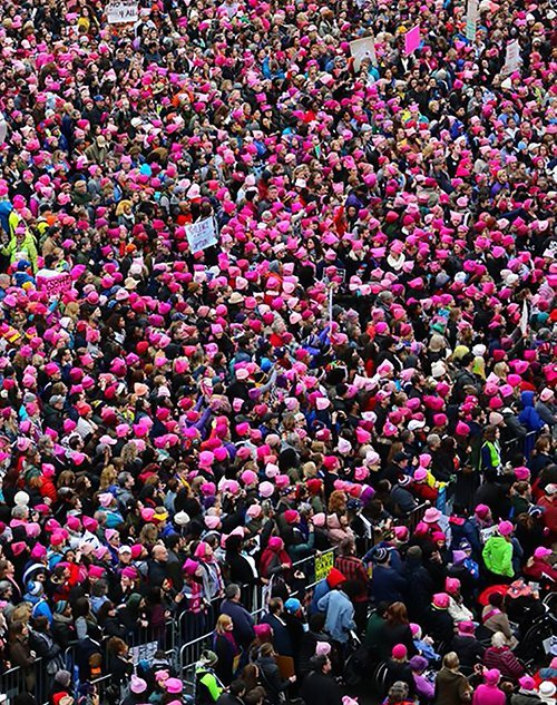 Arial view of the Women's March on Washington with hundreds of pink hats.
