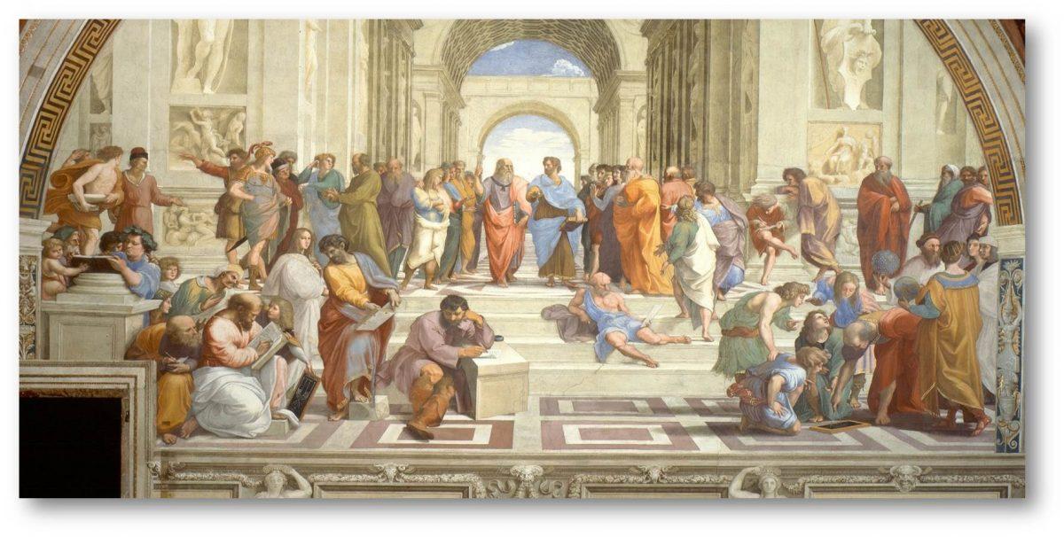 """Painting: """"School of Athens in debate"""" by Raphael"""